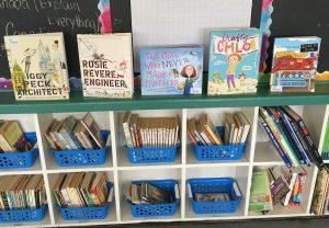 Children's book displayed in a bookshelf