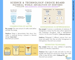 Sec. 1 and 2- Choice Board, Separation Mixtures