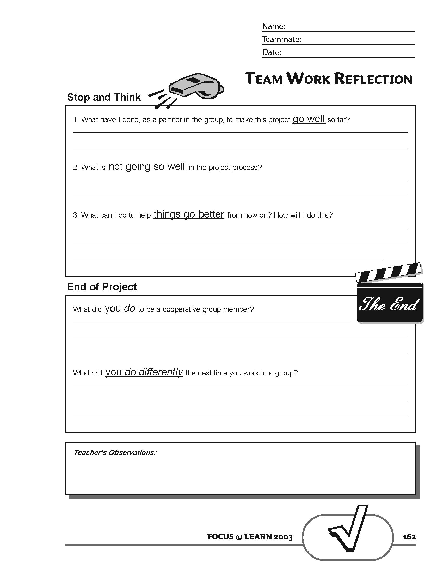 Team Work Reflection Tool