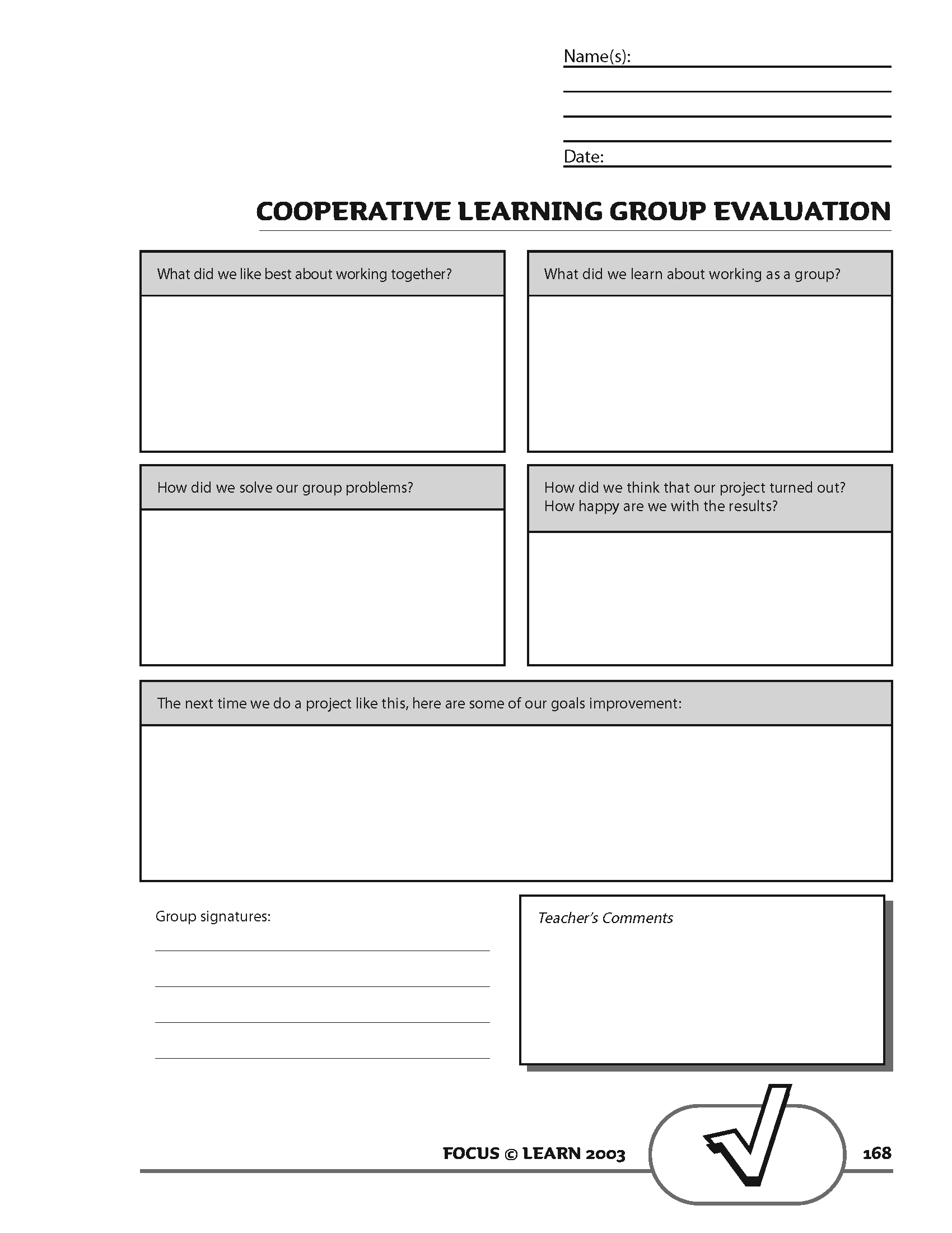 Cooperative Learning Group Evaluation Tool
