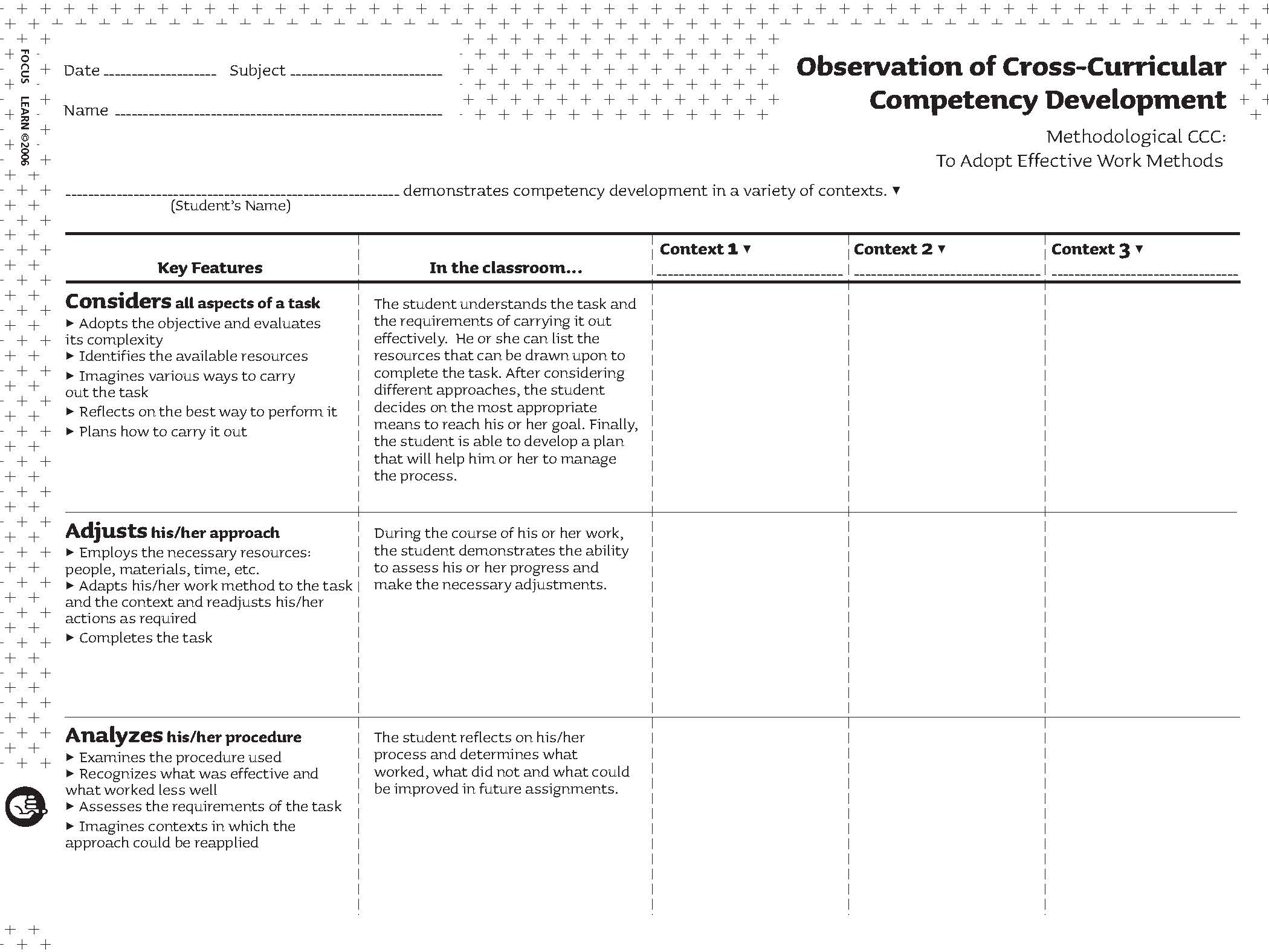 Observation of Cross-Curricular Competency Development